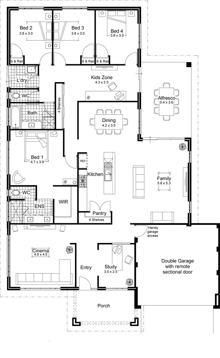 40 best 2d and 3d floor plan design images on pinterest for Contemporary open floor plans