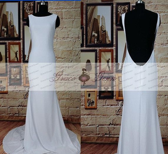 Backless White Prom DressUnique Backless Wedding by GraceGown $135