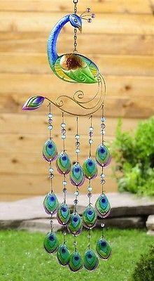 New Turquoise PEACOCK WINDCHIME Garden Patio Decor Accent Terrace Window Art in Home & Garden | eBay