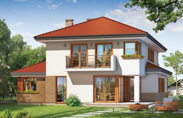Dom jednorodzinny dla rodziny 4-6 osobowej, piętrowy przykryty wielospadowym dachem. Zwarta, prosta w budowie bryła budynku z dobudowanym garażem, została urozmaicona okładziną klinkierową elewacji, oraz podcieniami - wejściowym i ogrodowym.