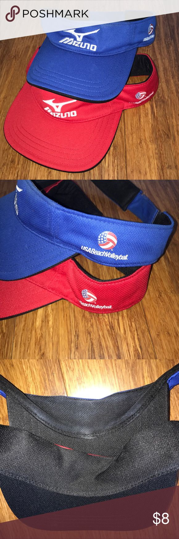 Mizuno USA Beach Volleyball logoed visors GUC These Mizuno USA Beach Volleyball logoed visors are a custom item, like the ones worn by April Ross in the 2016 Rio Olympic Games. Please specify blue or red. Red is pristine, blue has a tiny bit of marking on inside brow band (see photo.) All shipments are videotaped. Mizuno Accessories Hats