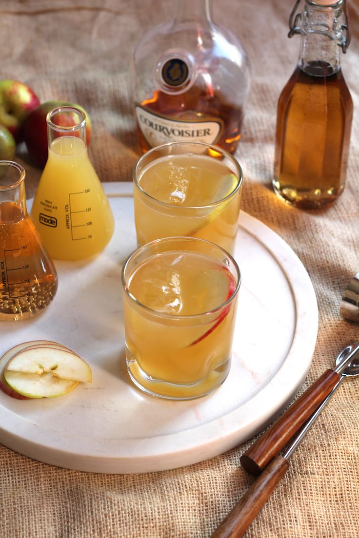 The Brandy Apple. | Autumn, apples, brandy. The three go hand in hand in this cocktail. With only three ingredients and no shaking required, it's ideal for autumn get-together or chilly nights by the fire. @vickihigham