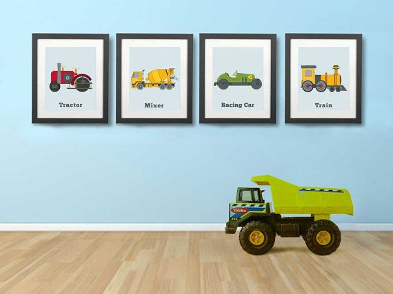 VEHICLE WALL PRINTS, set of four, wall art for boys rooms, graphic images for boys, toddlers room ideas, children art prints on Etsy, $24.00