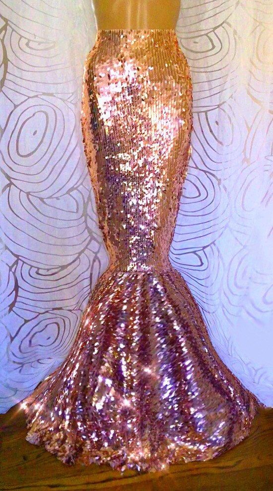 Sequin Mermaid Tail Rose Gold Oval High Waist Sequin Skirt