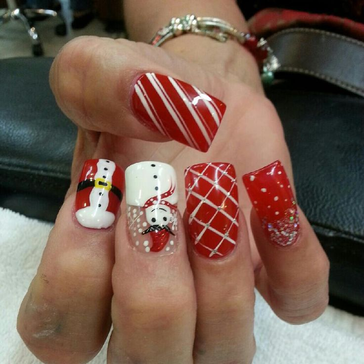 Santa, Snowman, Red Christmas Nails