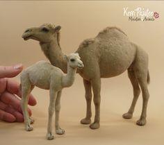 Miniature 1:12 scale Arabian Camel and Calf by Pajutee.deviantart.com on @deviantART