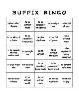 Worksheets Suffix Word List 58 mejores sobre prefixes suffixes en pinterest my students love playing suffix bingo this download includes a set of 25 different boards