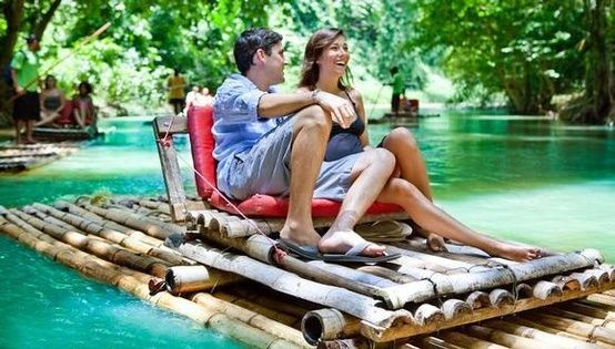 Rafting on The Martha Brae River in Jamaica is one of the most relaxing things you'll ever do. For couples, this is also a very romantic outing.