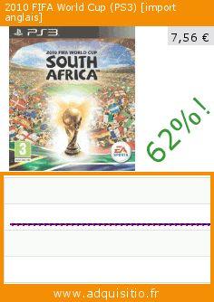 2010 FIFA World Cup (PS3) [import anglais] (Jeu vidéo). Réduction de 62%! Prix actuel 7,56 €, l'ancien prix était de 19,75 €. https://www.adquisitio.fr/electronic-arts/2010-fifa-world-cup-ps3