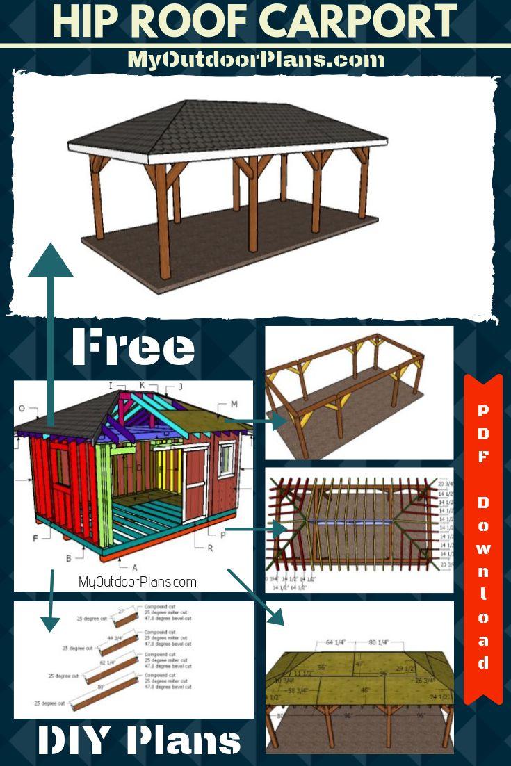 1 Car Carport with Hip Roof Plans Carport plans, Carport