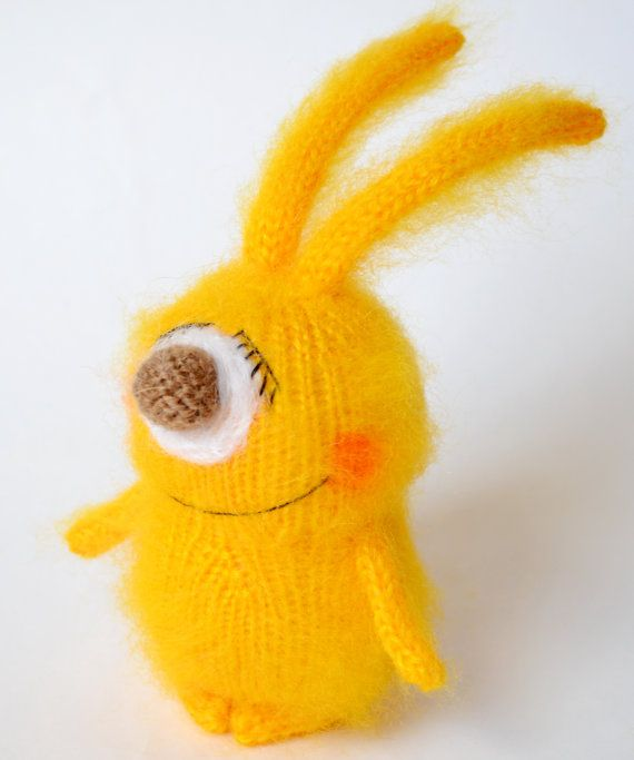 Sunny Bunny - Yellow Rabbit -  Amigurumi Miniature Animals Art Dolls - Stuffed Toys-  Cute Gift Ideas - Happy Sunny Bunny - Hand-knitted.