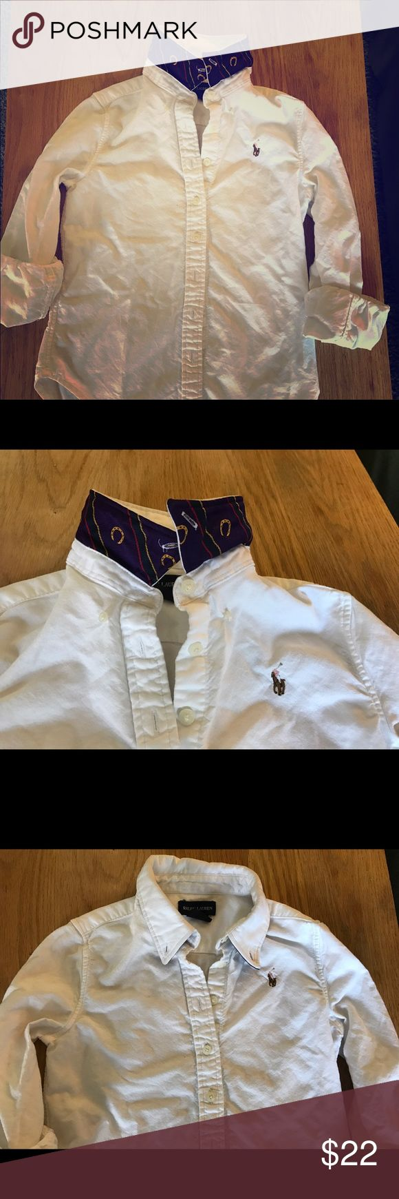 Girls Ralph Lauren equestrian color button down Girls button down. No stains. Collar has equestrian detailing in navy and purple. Polo by Ralph Lauren Shirts & Tops Button Down Shirts