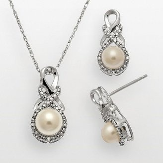 ShopStyle: Sterling silver freshwater cultured pearl & diamond accent swirl pendant & drop earring set