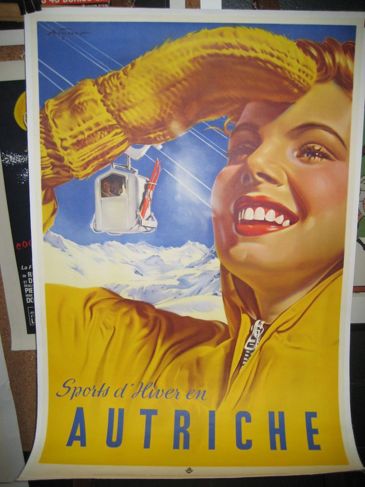Ski Austria! Original art deco vintage poster. C'est parfait!