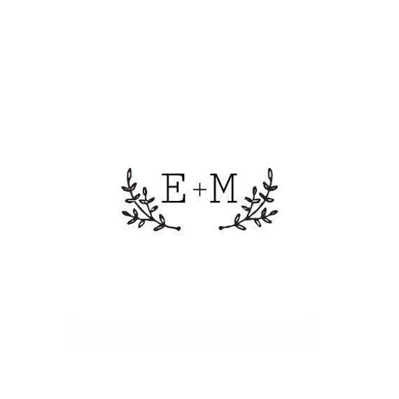 Wedding Stamp wreath with initial monogram wedding invitation  rubber stamp or self inking stamp wedding gift custom stamp