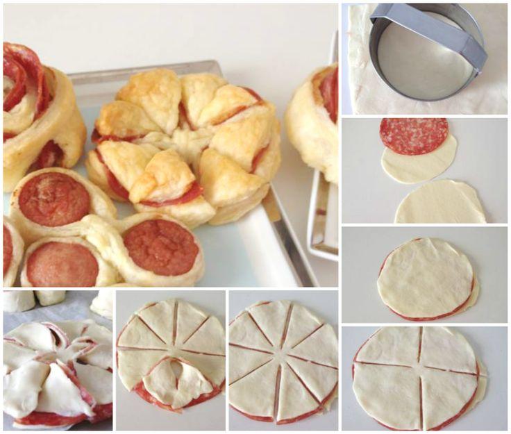 Girelle di pasta sfoglia e salame. Puff pastry girelle and salame.