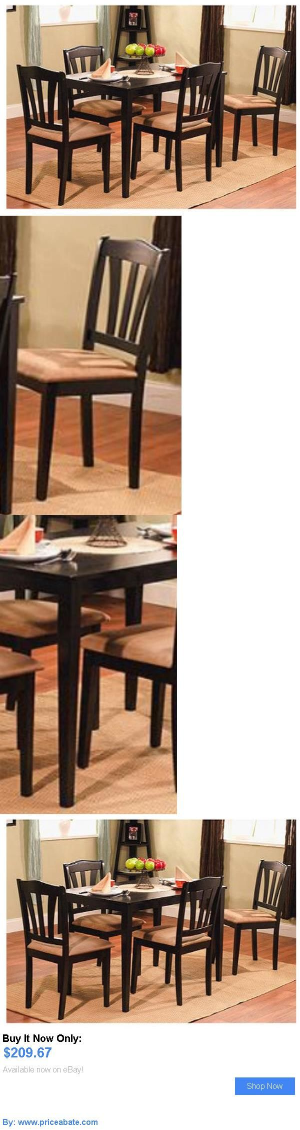 furniture: Modern Design Wood Kitchen Table And Chairs Set 5 Piece Black Dining Furniture BUY IT NOW ONLY: $209.67 #priceabatefurniture OR #priceabate