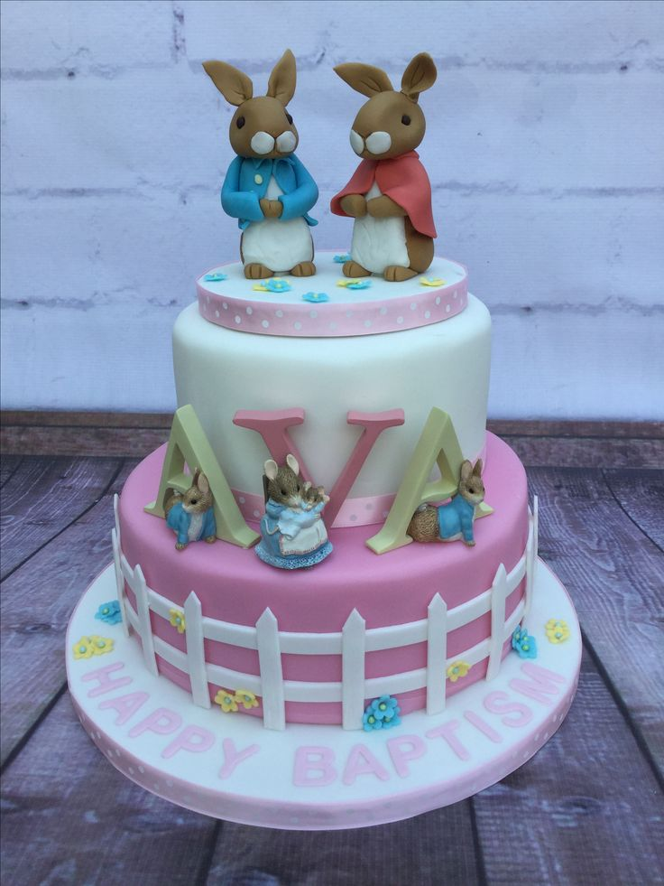 Peter Rabbit Christening Cake   Message from Ava's Nan - Absolutely beautiful, and your cake was amazing to look at and to eat  Georgina loved it and so did all the family had heart felt meaning