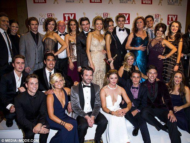 Star studded event: Members of the Home And Away cast gathered for a group shot