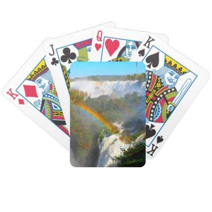 Tropical Waterfall With Rainbow Bicycle Playing Cards - image gifts your image here cyo personalize