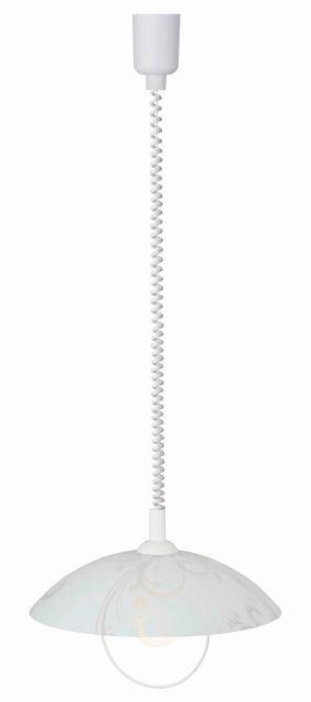 BONA - závesná lampa kuchynská - biela s dekorom