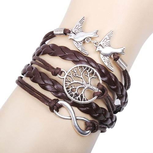 Multilayer Alloy Love Birds Life Tree and Infinity Handmade Leather Bracelet