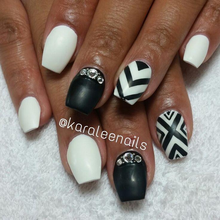 black and white nails karaleenails pinterest white nails