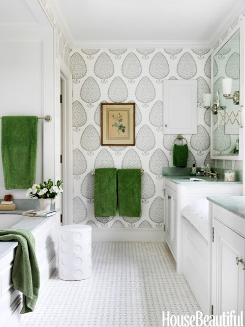 katie ridder wallpaper, grey and green bathroom, wallpapered bathroom, green accent, tile floor, accent wall