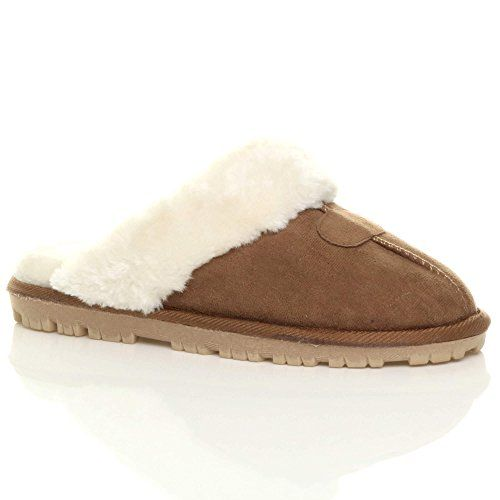 Ajvani Womens / ladies flat low heel winter fur lined slip on luxury mules slippers size;  566 Customer Reviews ; PRICE:	£9 - £14 FREE Delivery  for Prime Members & FREE Returns on some sizes and colours; Size:  Size Chart ;  Fit: As expected (90%) {FB+TW+SE  30/11/17}