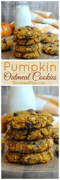 Easy Pumpkin Oatmeal Cookies! Soft and chewy with chocolate chips
