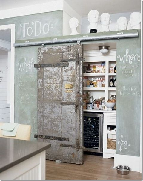Minus the heads, I like this with the old door for the pantry and the chalkboard paint walls! Vintage feel and fun!