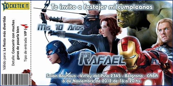 """""""Avengers"""" birthday invitation card Tarjeta invitación para cumpleaños""""Los Vengadores"""" tipo"""