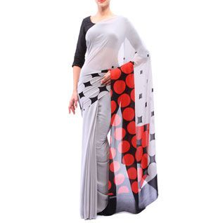 Powder Grey, Black & Red Printed Georgette Saree