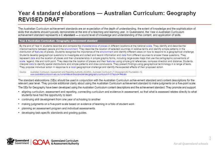 Year 4 Geography standard elaborations