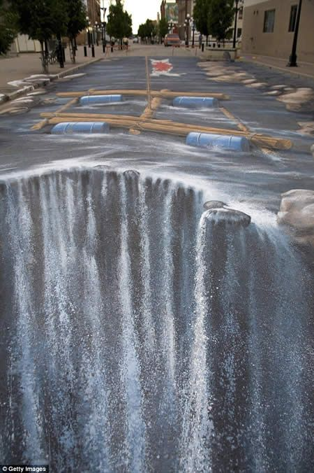 3D Pavement Art, chalk drawing on pavement of river and waterfall. Excellent.
