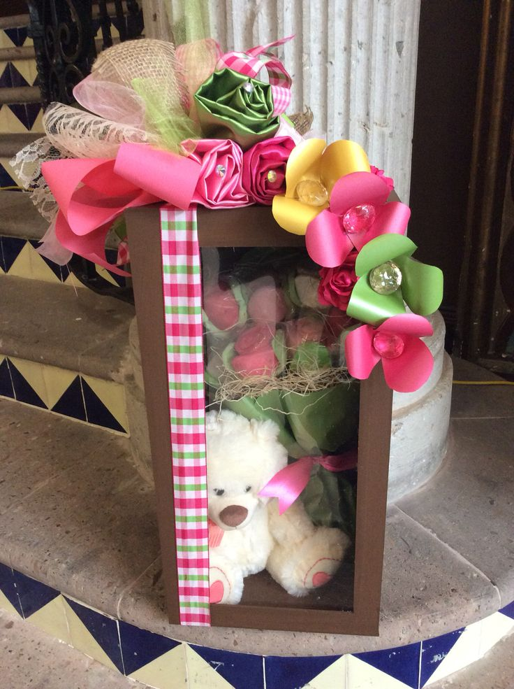 Caja oso con flores