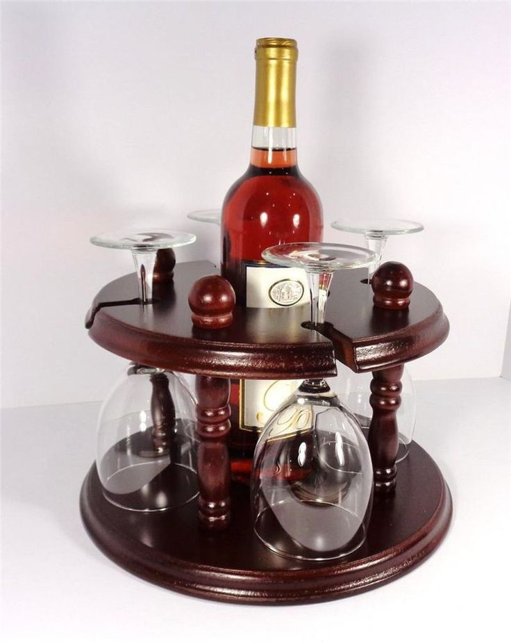 Nautical Red Cherry Wood Four Glass Wine Rack Bottle
