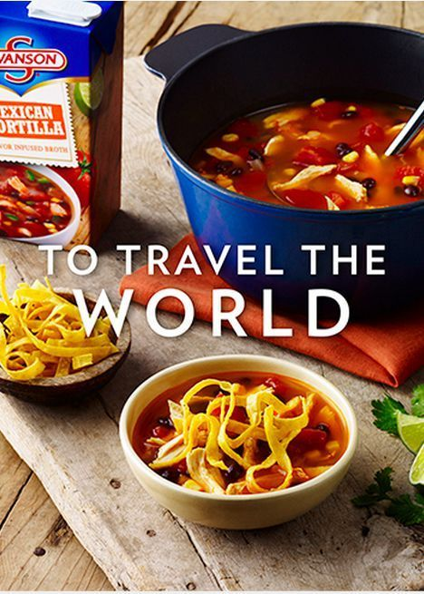 You'll fill your kitchen with exotic and unexpected aromas when you make your famous tortilla soup recipe with Swanson's Mexican Tortilla Infused Broth. Who knows what else you could create with its delicious flavor? The possibilities are endless!