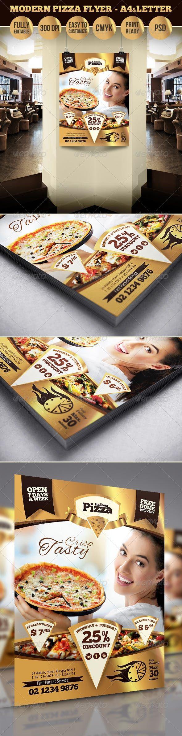 Modern Pizza Flyer A4 & Letter Sizes — PSD