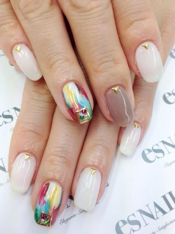 beautiful watercolored nails
