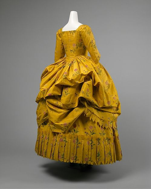 Robe a l'Anglaise Retroussée - This style is an Anglaise worn with the skirts gathered up.  Any Robe a l'Anglaise can be worn this way, with various systems of suspending the skirts.  A Robe a l'Anglaise worn retroussée, however, differs from a Robe a la Polonaise. American Duchess: The Many Types of Late 18th Century Gowns