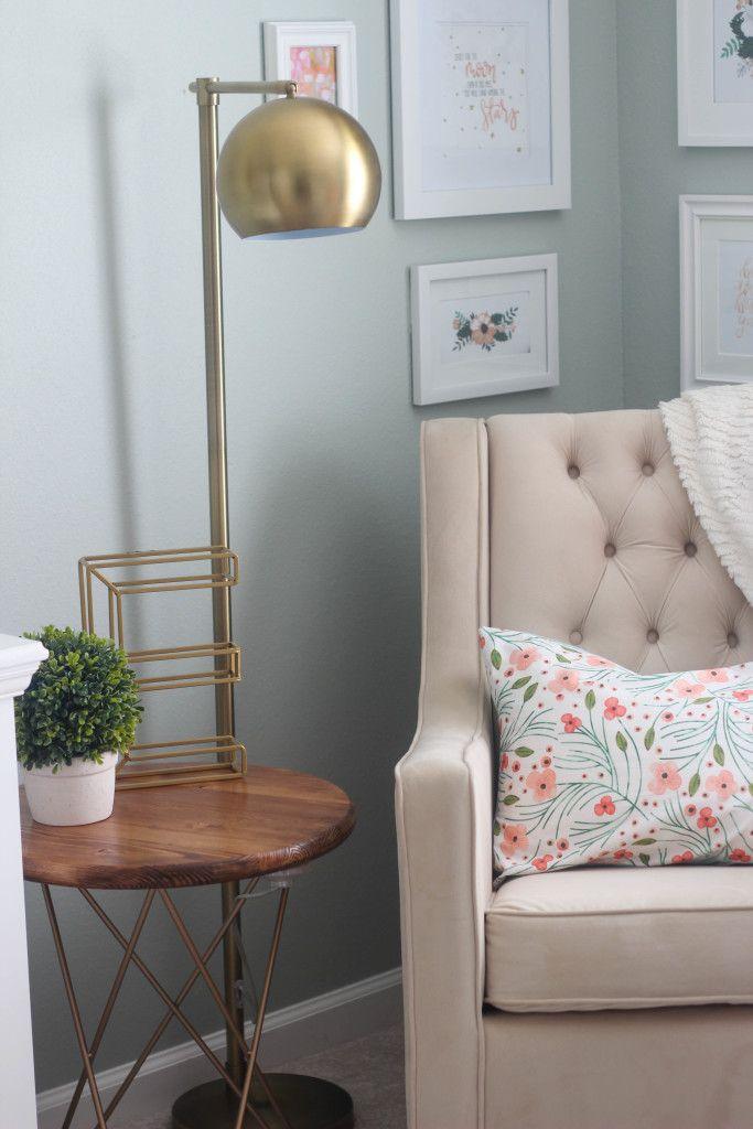 Baby Girl Nursery | Glider | Rustic | Gold | Glam | Floral Fabric | DIY Nursery Art | Nursery Glider