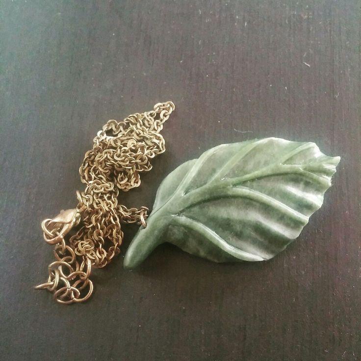Leaf pendant. Pounamu/NZ Jade