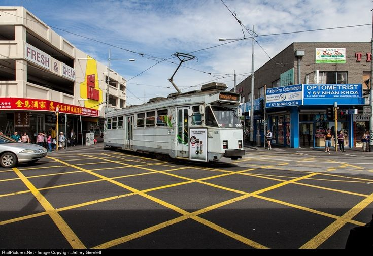 ComEng built Z Class tram turning on to Leeds Street in Footscray, Melbourne.