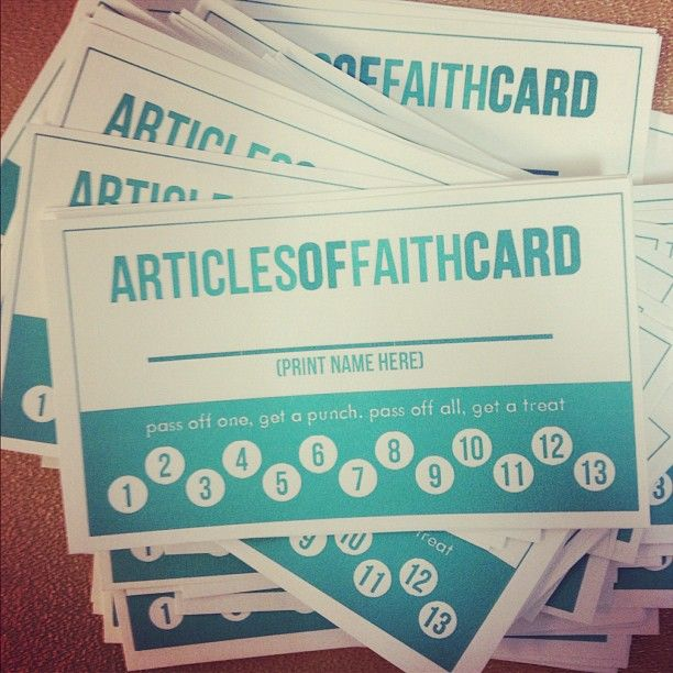 Articles of Faith punch card -  pass off one, get a punch, pass off all, get a treat. Maybe this will get him excited again.