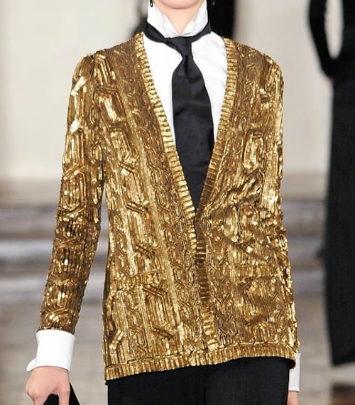 """Ralph Lauren Gold Beaded Cardigan. Shenae says: """"Flipping through fashion mags and spotted this Ralph Lauren gold cardigan and immediately fell in love! With it's bold texture and loud color, I for sure need to add this statement piece to my wardrobe!"""" To see more visit: blog.giftsimple.com"""