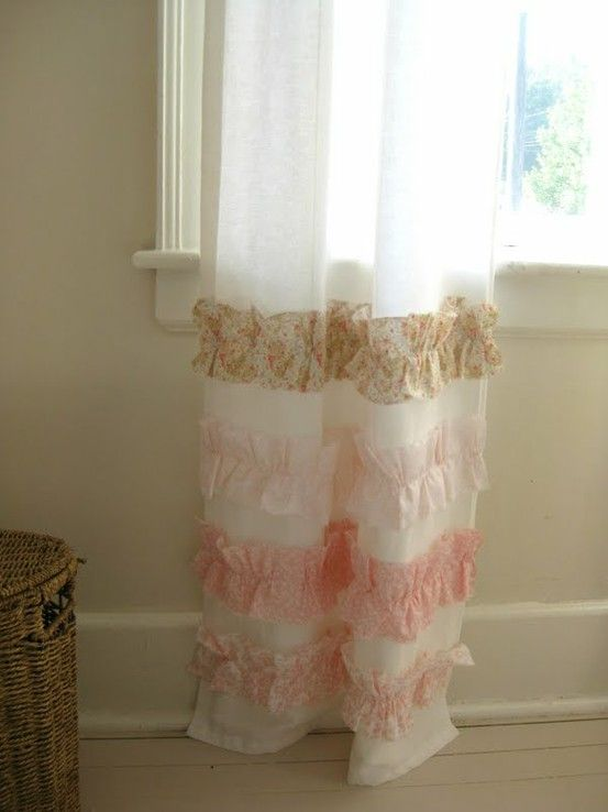 curtains with strips of fabric ruffled near the bottom! Super cute for a little girls room!!