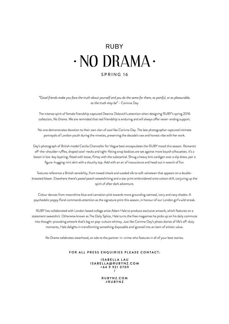 RUBY 'NO DRAMA' SPRING 16