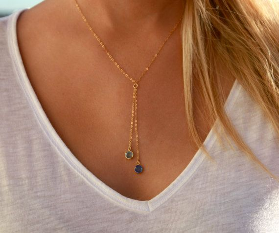 Beautiful and Simple Lariat Style Necklace with Double Birthstone Drops in Gold Filled or Sliver Filled. This will quickly become your special