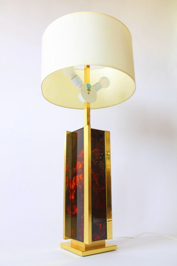 BRASS table lamp with faux by VINTAGELAMPDEN